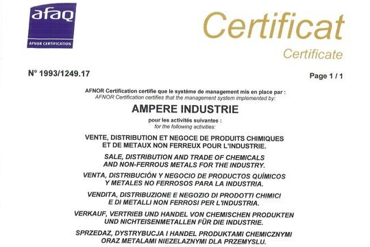 Certificat ISO 9001 Ampere 2020